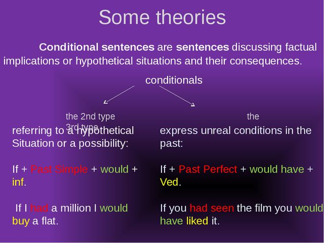 Some theories Conditional sentences are sentences discussing factual implicat...