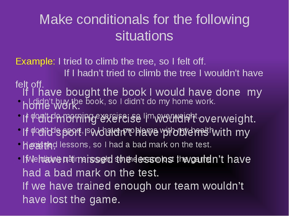 Make conditionals for the following situations I didn't buy the book, so I di...