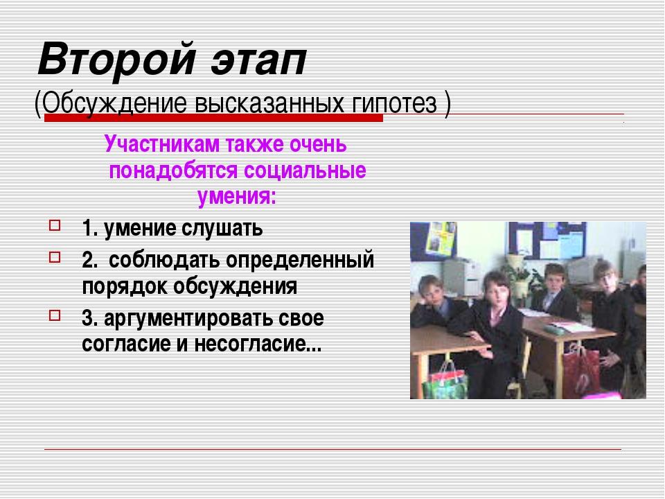 Второй этап (Обсуждение высказанных гипотез ) Участникам также очень понадобя...