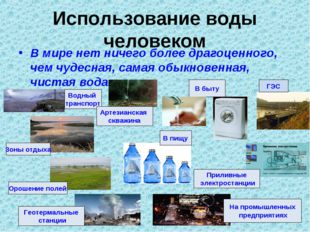 Использование воды человеком В мире нет ничего более драгоценного, чем чудесн