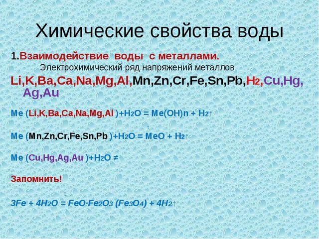 Химические свойства воды 1.Взаимодействие воды с металлами. Электрохимический...