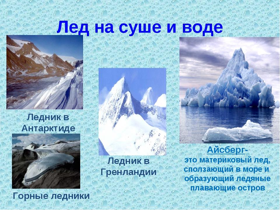 Лед на суше и воде Айсберг- это материковый лед, сползающий в море и образующ...