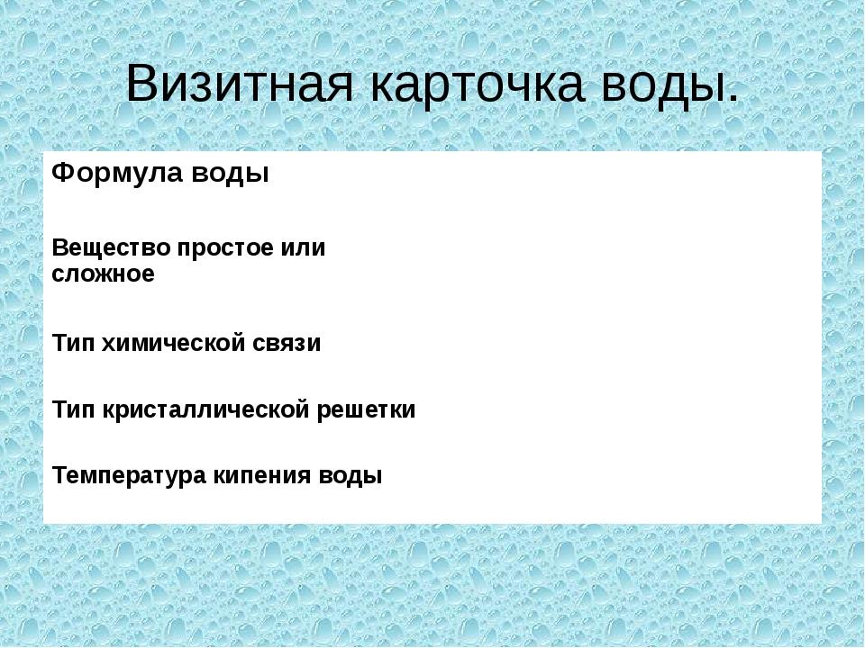 Визитная карточка воды. Формула воды  Вещество простое или сложное  Тип хим...