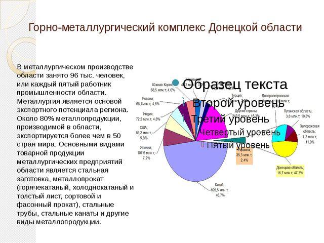 Горно-металлургический комплекс Донецкой области В металлургическом производс...