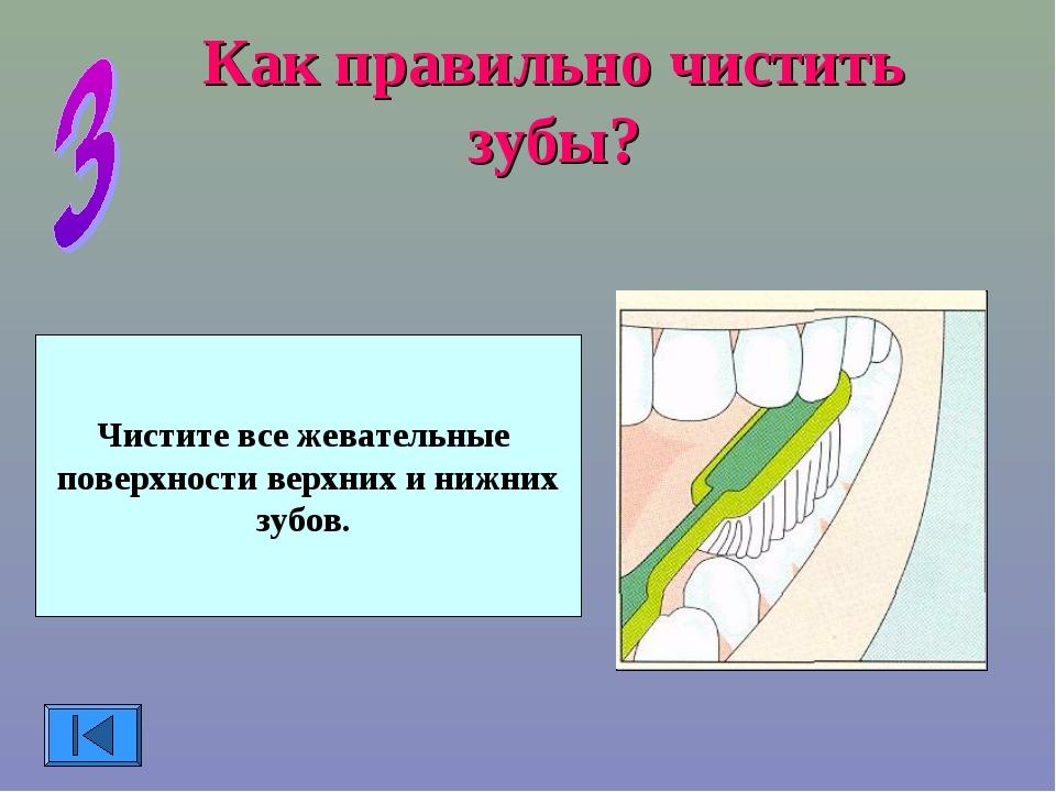 Как правильно чистить зубы? Чистите все жевательные поверхности верхних и ниж...