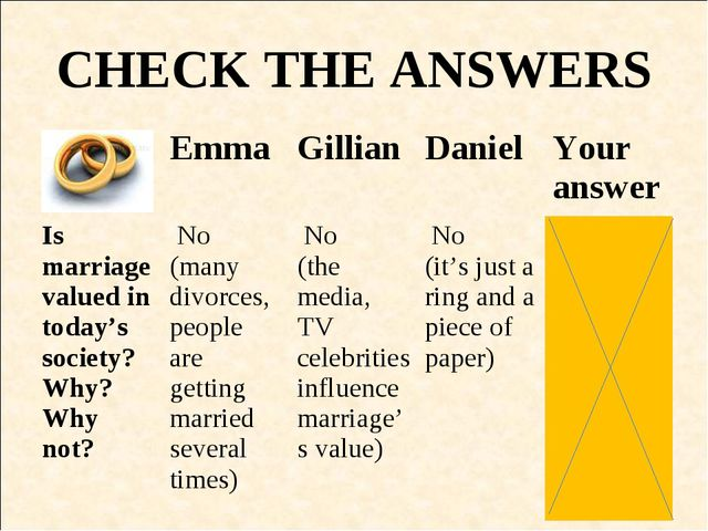 CHECK THE ANSWERS EmmaGillianDanielYour answer Is marriage valued in toda...