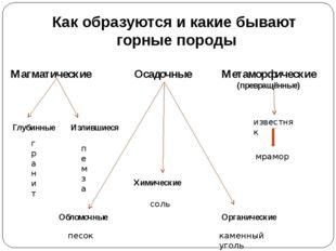 Как образуются и какие бывают горные породы Магматические Осадочные Метаморфи