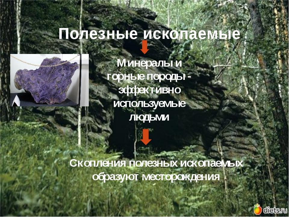 Полезные ископаемые Минералы и горные породы - эффективно используемые людьми...