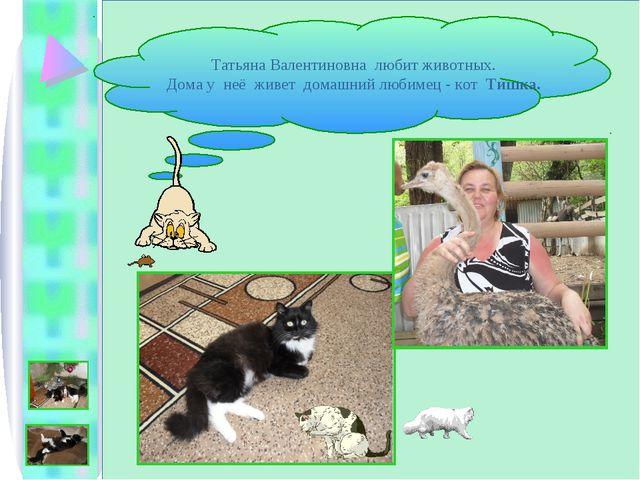 Татьяна Валентиновна любит животных. Дома у неё живет домашний любимец - кот...