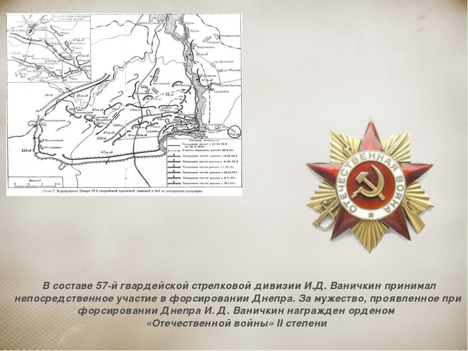 В составе 57-й гвардейской стрелковой дивизии И.Д. Ваничкин принимал непосре...