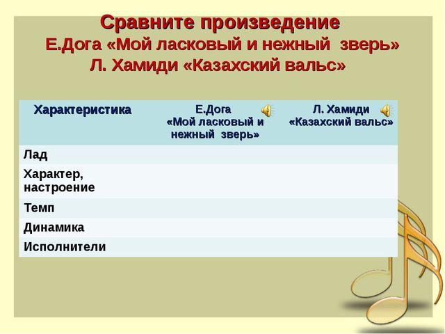 Сравните произведение Е.Дога «Мой ласковый и нежный зверь» Л. Хамиди «Казахск...
