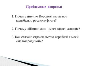 Проблемные вопросы: 1. Почему именно Воронеж называют колыбелью русского флот