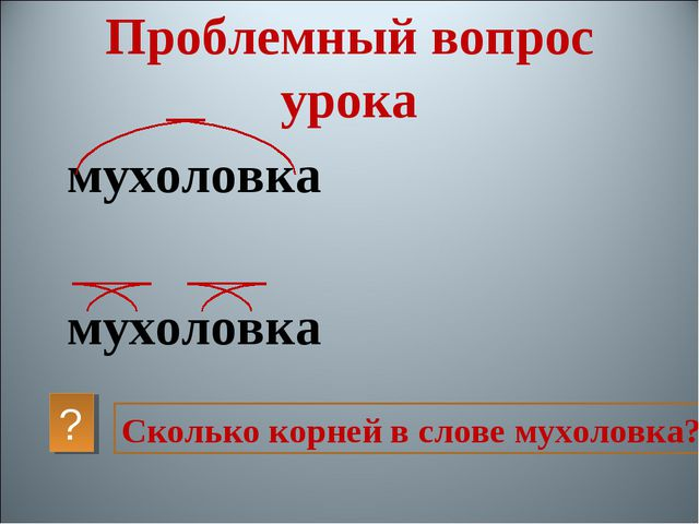 мухоловка мухоловка Сколько корней в слове мухоловка? ? Проблемный вопрос урока
