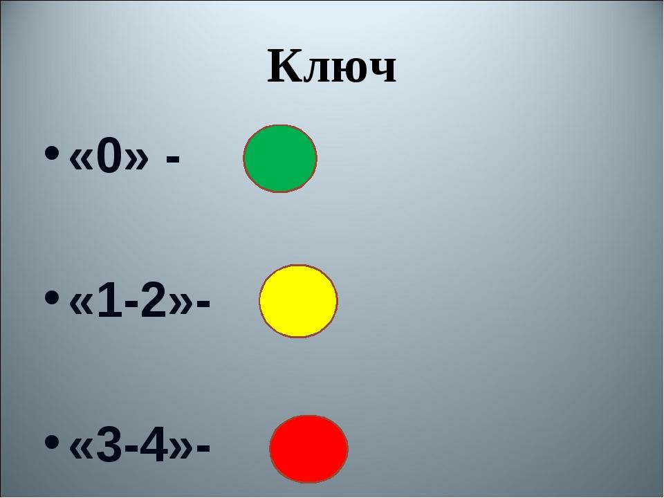 Ключ «0» - «1-2»- «3-4»-