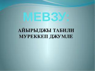 МЕВЗУ: АЙЫРЫДЖЫ ТАБИЛИ МУРЕККЕП ДЖУМЛЕ