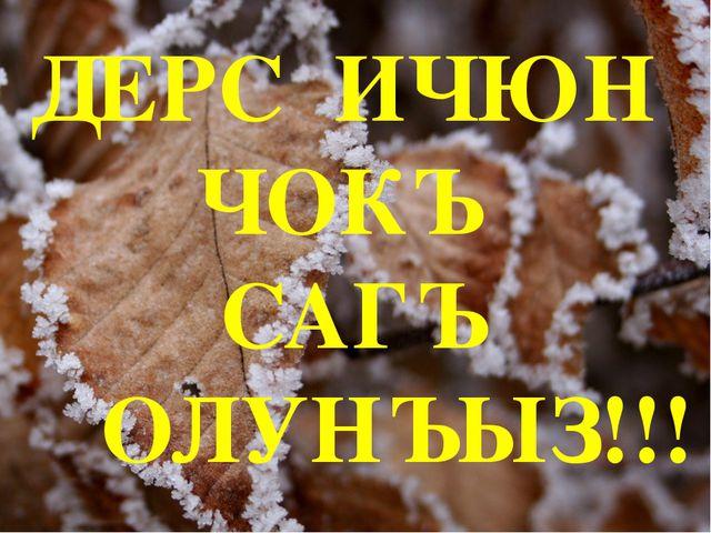ДЕРС ИЧЮН ЧОКЪ САГЪ ОЛУНЪЫЗ!!!