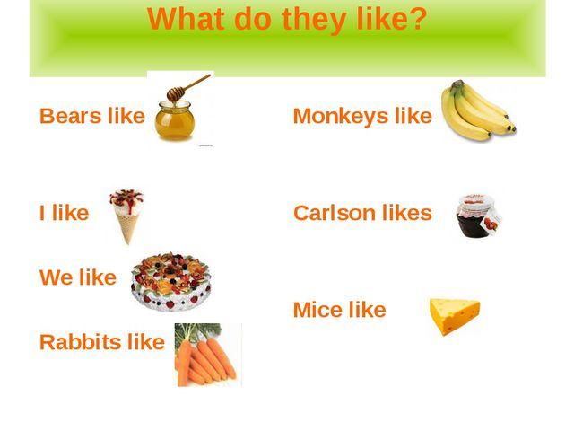 What do they like? Bears like I like We like Rabbits like Monkeys like Carlso...