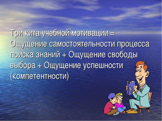 Три кита учебной мотивации = Ощущение самостоятельности процесса поиска знани...