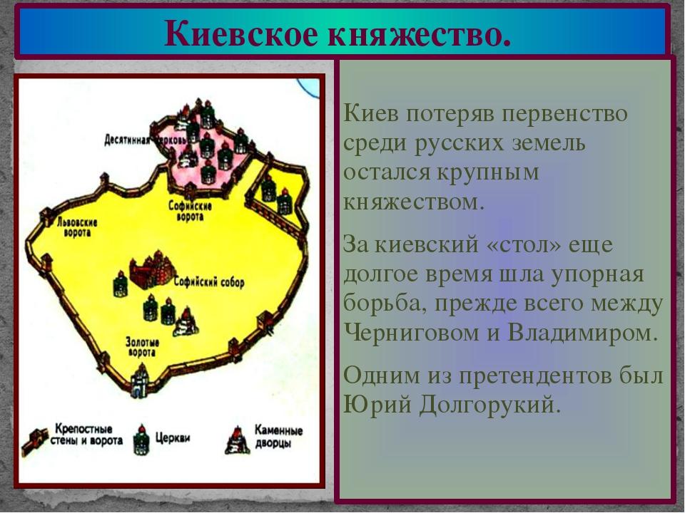 Киевское княжество. Киев потеряв первенство среди русских земель остался круп...
