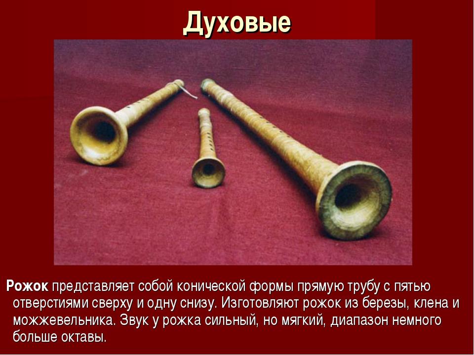 Духовые Рожок представляет собой конической формы прямую трубу с пятью отверс...