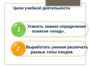 Цели учебной деятельности 1 2 Усвоить знание определения понятия «плод». Выр