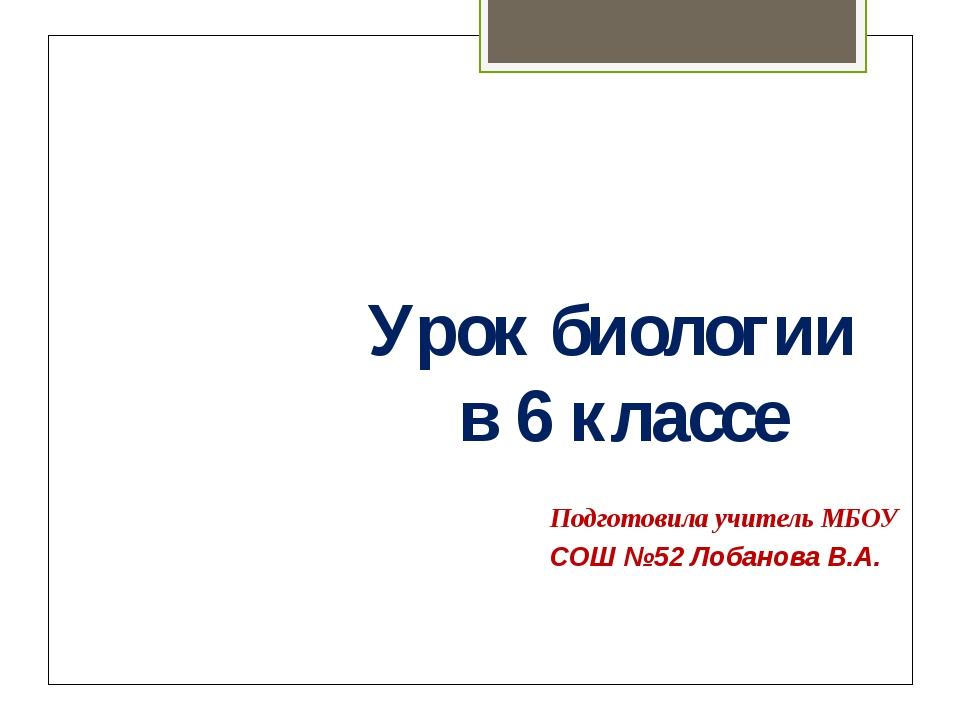 Подготовила учитель МБОУ СОШ №52 Лобанова В.А. Урок биологии в 6 классе