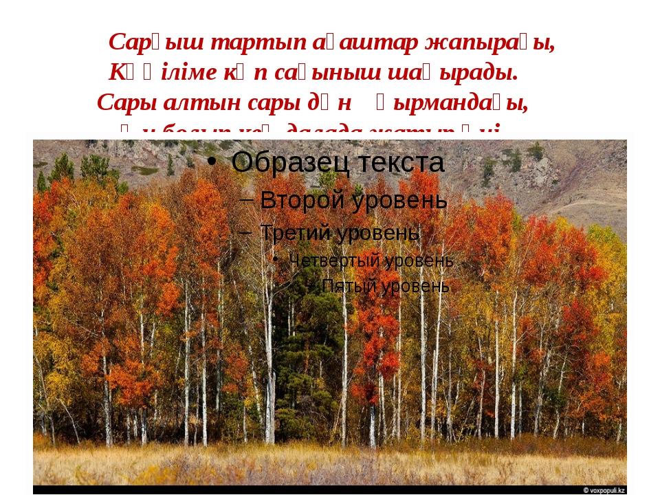 Сарғыш тартып ағаштар жапырағы, Көңіліме көп сағыныш шақырады. Сары алтын са...