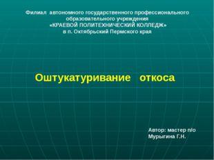 Оштукатуривание откоса Филиал автономного государственного профессионального