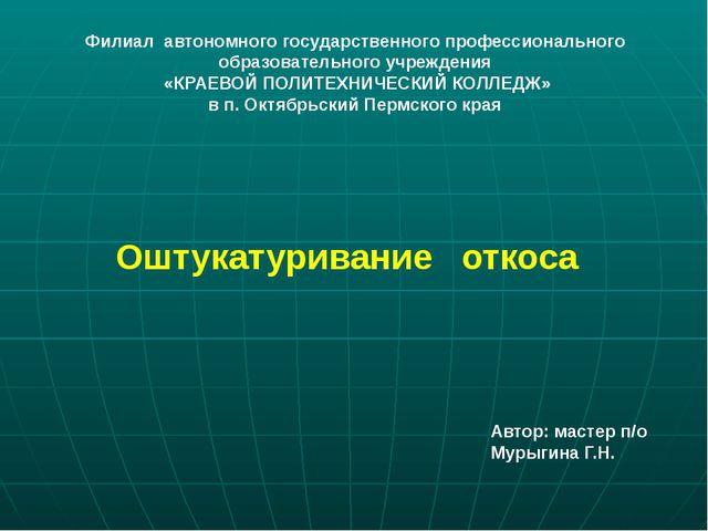 Оштукатуривание откоса Филиал автономного государственного профессионального...