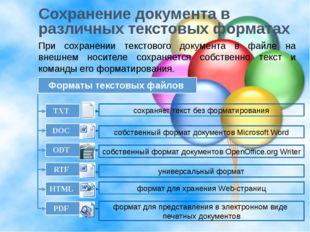 Сохранение документа в различных текстовых форматах При сохранении текстового