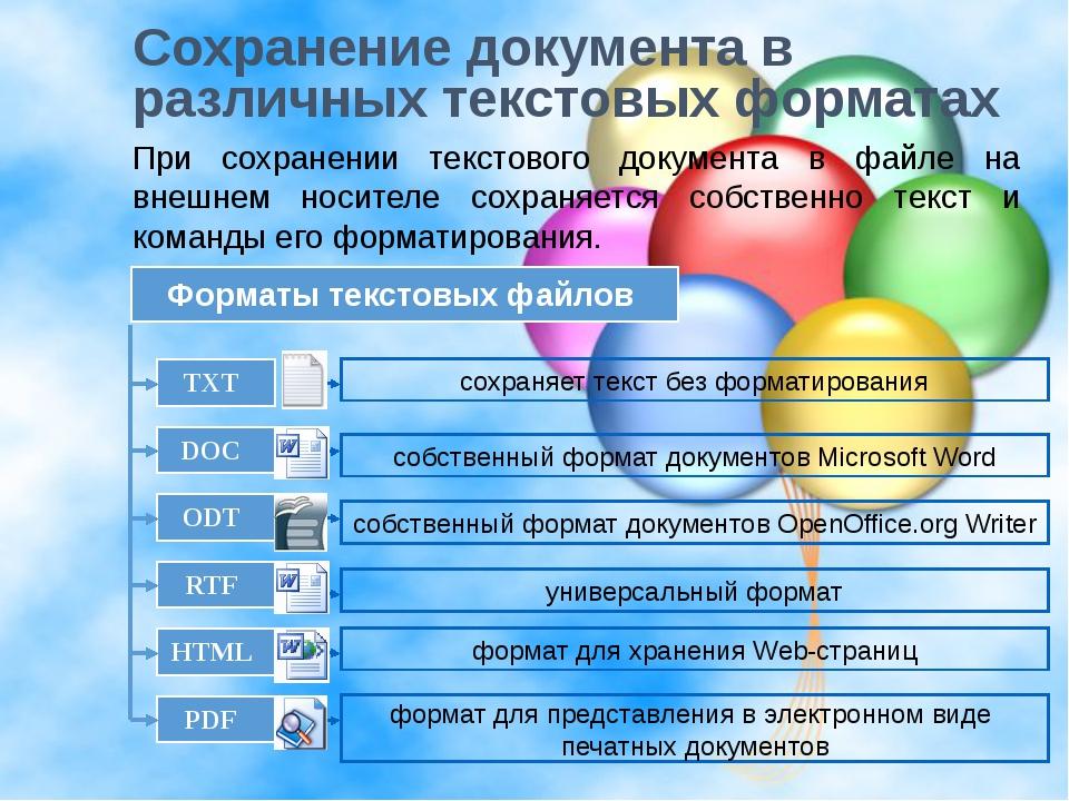 Сохранение документа в различных текстовых форматах При сохранении текстового...