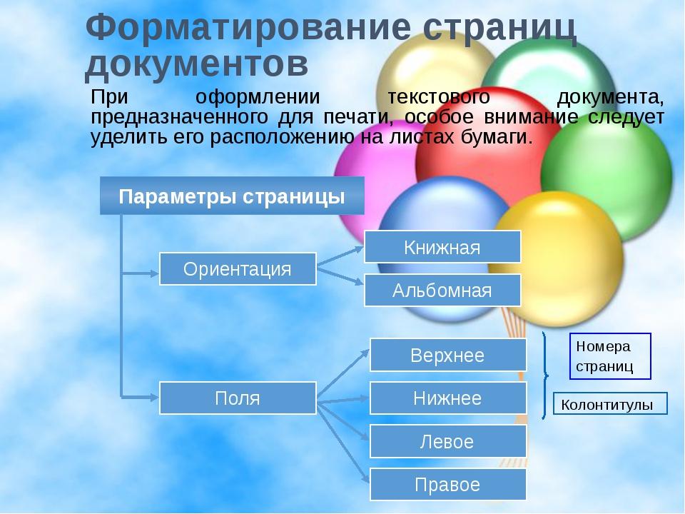Форматирование страниц документов При оформлении текстового документа, предна...