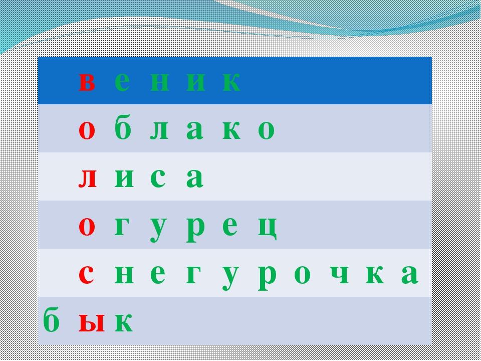 в е н и к о б л а к о л и с а о г у р е ц с н е г у р о ч к а б ы к