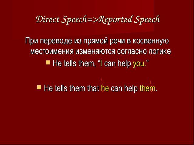 Direct Speech=>Reported Speech При переводе из прямой речи в косвенную местои...