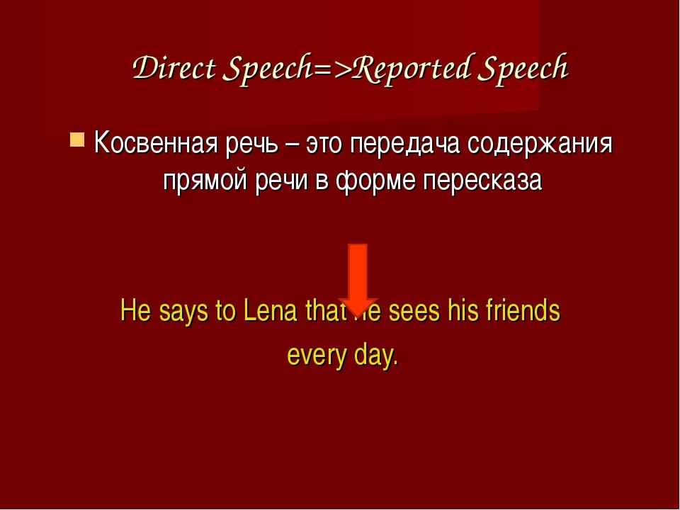 Direct Speech=>Reported Speech Косвенная речь – это передача содержания прямо...