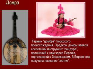 """Домра Термин """"домбра"""" тюркского происхождения. Предком домры явился египетски"""