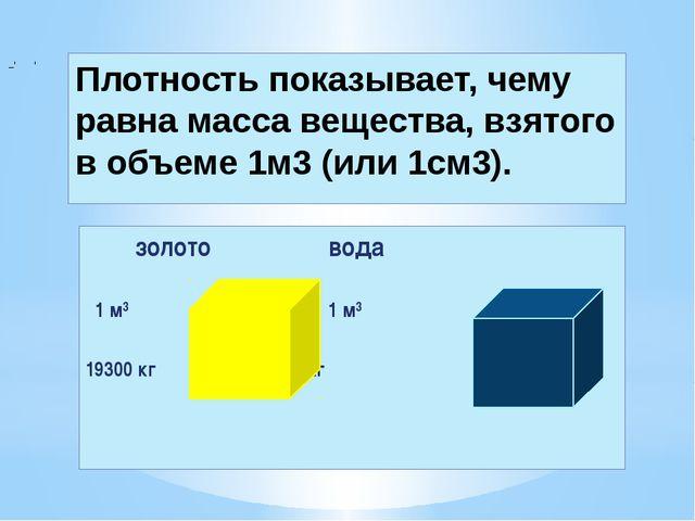 Плотность показывает, чему равна масса вещества, взятого в объеме 1м3 (или 1с...