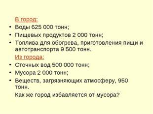 В город: Воды 625000 тонн; Пищевых продуктов 2 000 тонн; Топлива для обогре