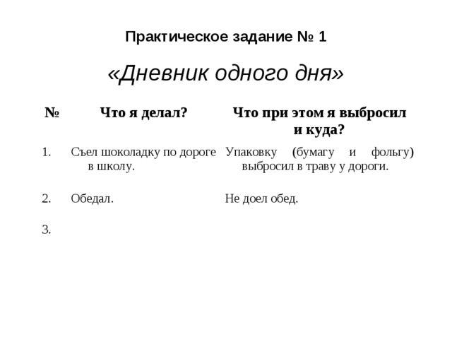 Практическое задание № 1 «Дневник одного дня» №Что я делал?Что при этом я в...