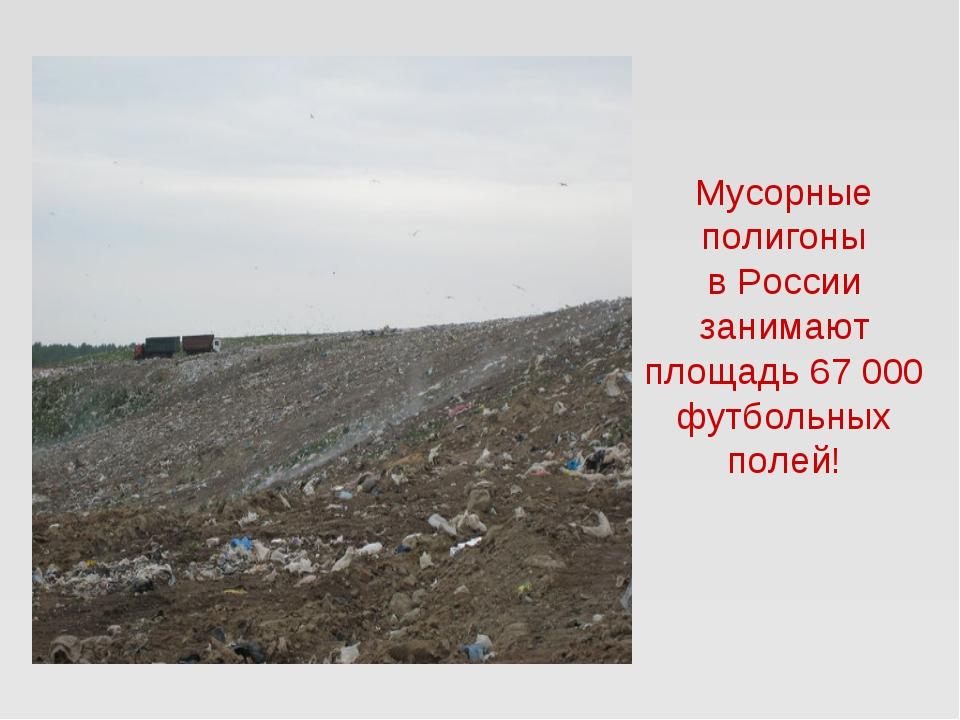 Мусорные полигоны в России занимают площадь 67 000 футбольных полей!