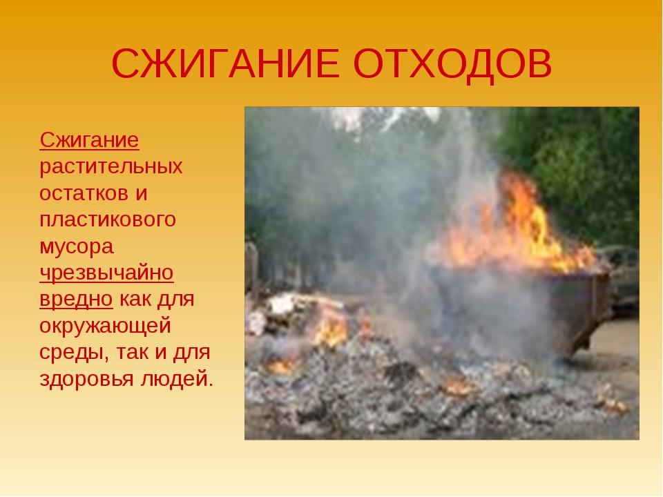 СЖИГАНИЕ ОТХОДОВ Сжигание растительных остатков и пластикового мусора чрезвыч...