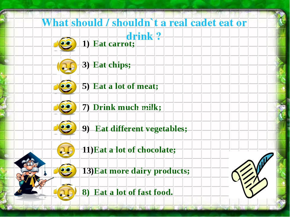 What should / shouldn`t a real cadet eat or drink ? Eat carrot; Eat chips; E...