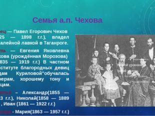 Семья а.п. Чехова Отец — Павел Егорович Чехов (1825 — 1898 г.г.), владел бак