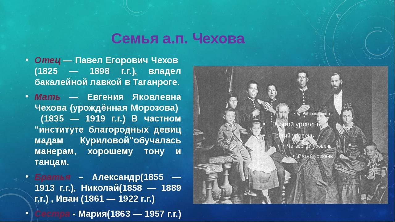 Семья а.п. Чехова Отец — Павел Егорович Чехов (1825 — 1898 г.г.), владел бак...