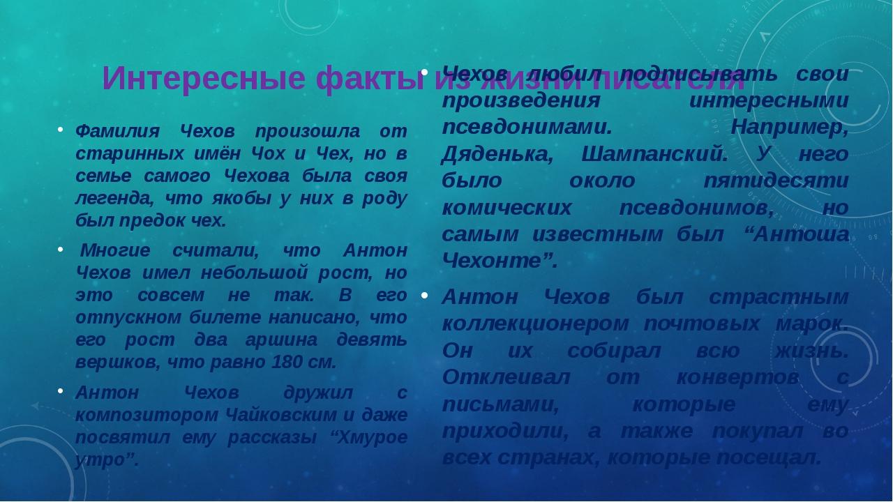 Интересные факты из жизни писателя Фамилия Чехов произошла от старинных имён...
