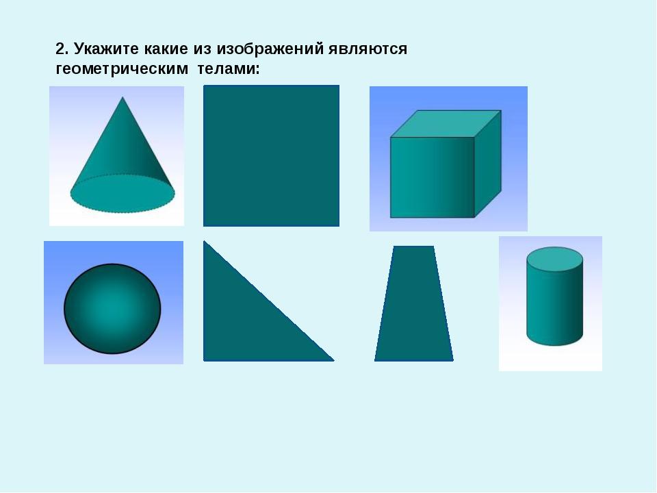 2. Укажите какие из изображений являются геометрическим телами: