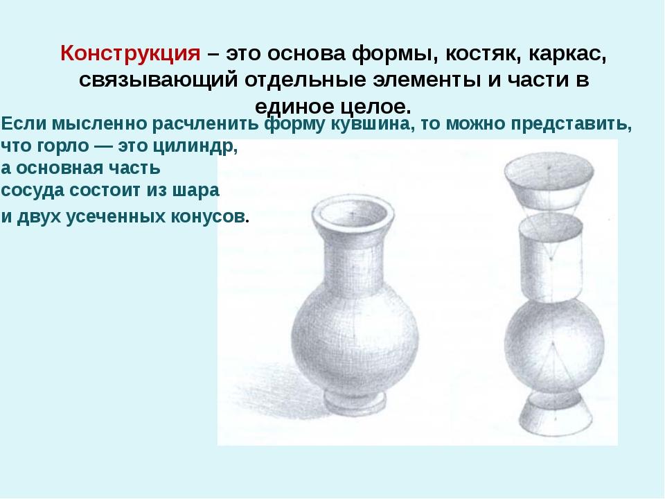 Конструкция – это основа формы, костяк, каркас, связывающий отдельные элемент...