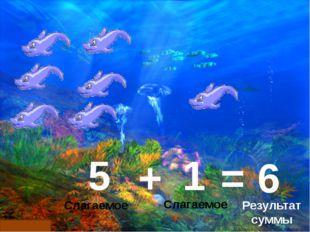 1 5 + = 6 Слагаемое Слагаемое Результат суммы