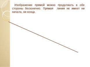 Изображение прямой можно продолжать в обе стороны бесконечно. Прямая линия н