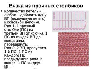 Вязка из прочных столбиков Количество петель - любое + добавить одну ВП (возд